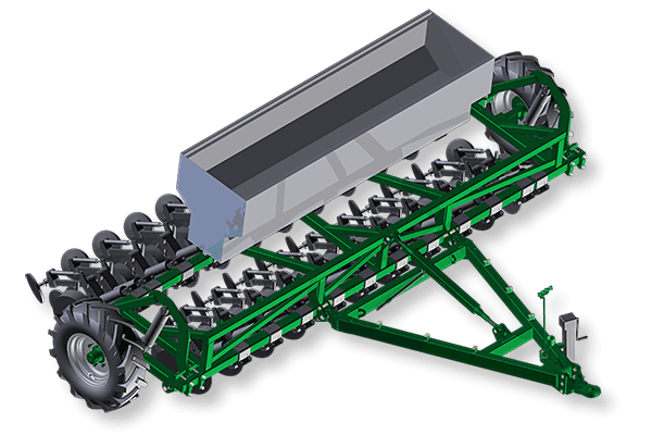 2-bar trailing planter frame for single disc planter units. Full hydraulic lift wheels, with choice of seeder box.