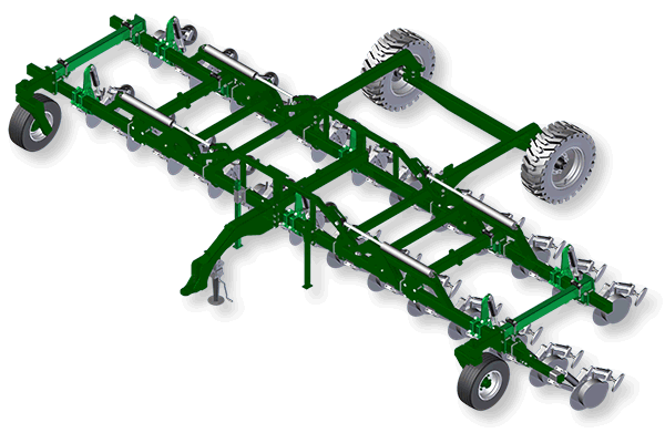 Drawbar folding frame  with rotating bar to suit single disc.